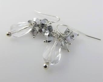 Winter Storm Earrings - Sterling Silver, Swarovski Crystals