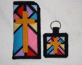 Stained glass cross eye glass case and key chain