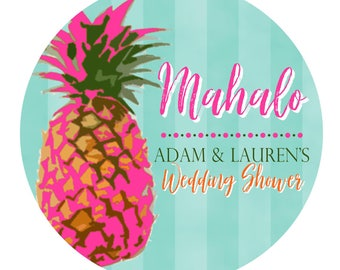 Pineapple Stickers,Modern Pineapple Labels, Mahalo,Personalized Wedding Stickers,Wedding favor labels,Beach Wedding,Tropical Wedding favors