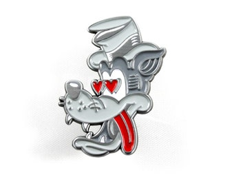 "TAIL CHASER Enamel Pin - 1.5"" Retro Wolf Cartoon, Soft Enamel Lapel Pin"