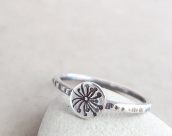 Dandelion ring, Sterling Silver, stacking ring, hammered, Wish jewelry, hand stamped
