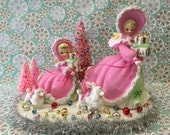 RESERVED for Joe!!!..ONLY!!!...Vintage  Pink Christmas Napco Shopper Girls SET!!....Centerpiece...Super Pretty and Ooak!!