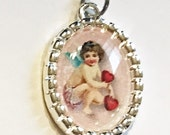 Tiny Charm Valentine's Day Cherub with Hearts Vintage Image