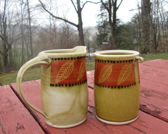 Large Vintage Pottery Creamer and Sugar Bowl - Tan Rust Black