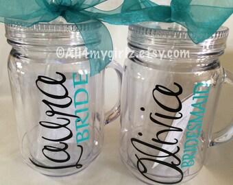 Set of 2 Personalized Bride Wedding Mason Jar Tumbler with lid Straw Bride Monogram BPA Free 20 oz Double Wall Acrylic
