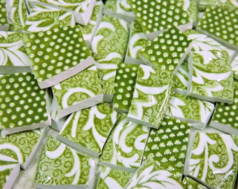 Mosaic Tiles - MoSSy GREEN and DoTS - Vintage China Tiles