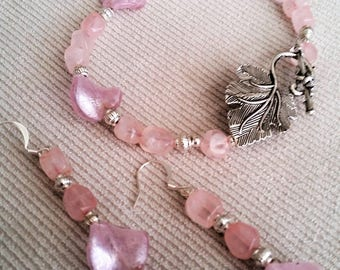 Bracelet and earrings set - pink silver foil glass and rose quartz