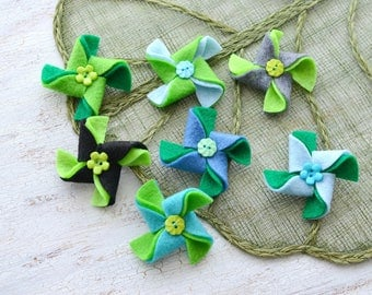 Pinwheel appliques, felt pinwheel, pinwheels for crafts, pinwheel flowers bulk, pinwheels for headbands (set of 7pcs)- GREEN- BLUE PINWHEELS