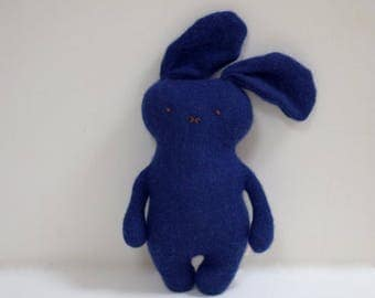 Stuffed cashmere Bunny doll dark blue Rabbit doll soft toy toddler upcycled Cashmere sweaters kids eco toy gift idea bubynoa CAT&BUNNY