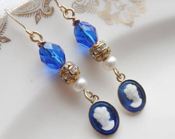 50% Off Blue Vintage Cameo Earrings with Freshwater Pearls