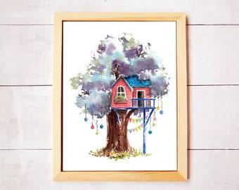 Treehouse Series 10 Watercolor Art Print - Digital Download