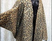 SALE Leopard - Batwing Sleeve Kimono - Dramatic Cocoon Lounge Robe made from Vintage Cotton - One Size Fits Petite to Plus - Ready to Ship!