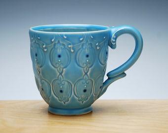 Aqua mug w. Navy detail, Victorian modern Stamped cup
