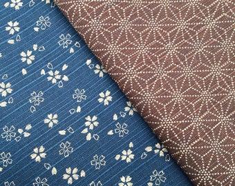 Navy Blue & Brown Sevenberry Double Sided Sakura Cherry Blossom and Asanoha Star Japanese dobby cotton fabric