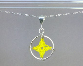 Spangles, yellow silk necklace, sterling silver