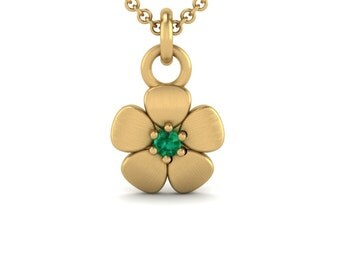 Emerald Necklace with Flower Pendant in 14k Gold -May Birthstone Mommy Push Present or Bridesmaid Gift- Laurie Sarah Flower Jewelry - LS4617