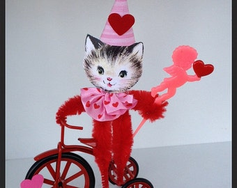 Valentine's Day Decoration Kitty on a Tricycle  Valentine Ornament