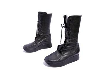 Size 8 // Vintage Stephanie Kelian Black Leather Boots //Grunge Platform Boots // Black High Lace-Up Boots // 204