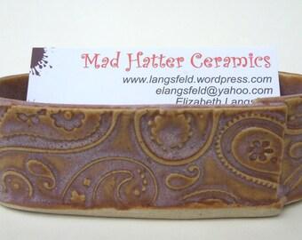 Sunset Pink Textured Paisley Handmade Ceramic Pottery Business Card Holder