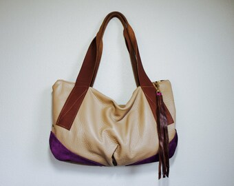 SPRING///Slouchy Oxford Sling in Taupe Leather with Purple Suede Accents and Wide Brown Leather Tote Straps