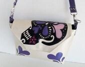 Sugar skull handbag upholstery grade textured vinyl w black sugar skull and blueberry hearts