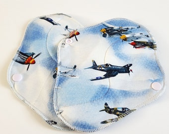 Set of 2 Airplanes Reusable Cloth Mama Pads . 8 Inch FREE Shipping