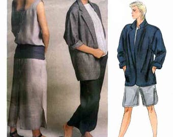 Vintage Perry Ellis Boxy Jacket, Dress & Pants or Shorts Sewing Pattern Vogue American Designer 1522 1980s Sewing Pattern Size 14 Bust 36