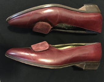 Vintage 1980's Burgundy Glacee Flats Size 7 with Suede Inserts