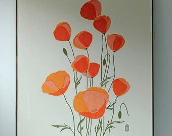 Vintage lithograph Orange Poppies - Pencil Signed & Numbered - Charles Chu