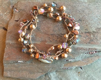 Coppery Bead Crocheted Necklace - Three Times Wrap Bracelet - Gifts under 50