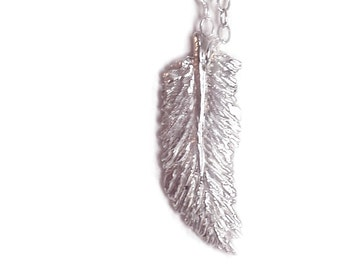 Feather Necklace - Sterling Silver - Hand Carved - Feather Jewelry - Boho Chic - Gifts Under 35 - Made In Brooklyn - Feather Charm Necklace