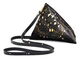 Celeste - Handmade Black Acid Wash Hair On Hide Leather Shoulder Bag Purse SS17