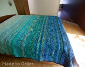 Oceanic Dreams Modern Quilt - custom made, one of a kind, king, queen, double, twin quilt, made in your size