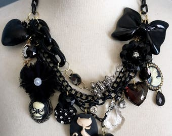 Spooky Gothic Lolita Multi Strand Charm Statement Necklace