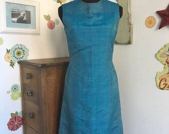 Vintage Silk Sheath Dress, Blue Silk Dupioni Fabric Shift Dress For Office or Evening