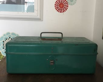 Vintage Industrial Green Metal Tool Box, Rustic Farmhouse Storage, Liberty Steel Chest Corp