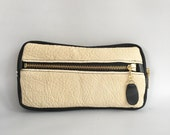 Leather wallet in black/cream