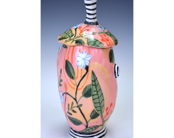 Jar, Tall, White flowers, Striped handle, foot, ears.