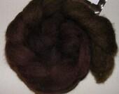 Birchbark - handdyed black Bluefaced Leicester wool tops