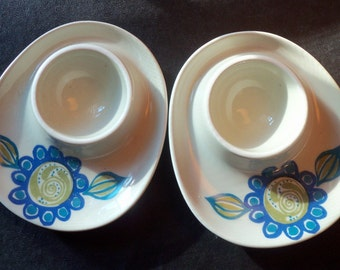 Set of 2 Vintage Ceramic Egg Cups from Norway Made by Figgjo Flint