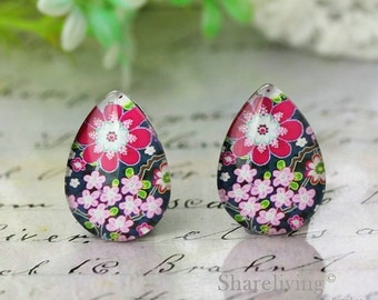 4pcs 18x25mm Pink Flowers Teardrop Glass Cabochons, Handmade Photo Teardrop Glass Dome -- BCH982J