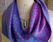 Handwoven Silk Circle Scarf, Infinity Scarf with Polka Dots