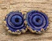CRUSTY ORGANIC DISCS - Handmade Lampwork Disc Beads - Earring Pair - 2 Disc Beads