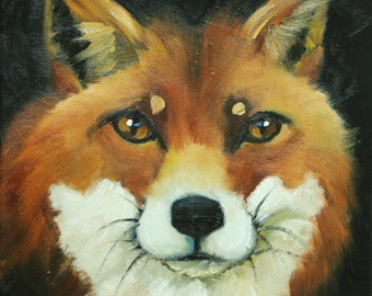 Fox painting 38 12x12 inch original animal portrait oil painting by Roz