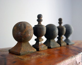 Cast Iron Finials, Antique Fence Toppers, Architectural Salvage, Metal Stairway Knobs, Assemblage Supplies, Rustic Home Decor, Paperweights