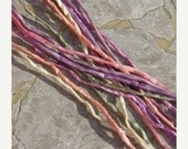New Years Sale SWEET PEAS Pastel Assortment Silk Cords 7 Strings Hand Dyed in Peach Ivory Lilac Pink Cords