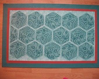 Floorcloth with Gaudi Tile Design - 3 x 5 feet