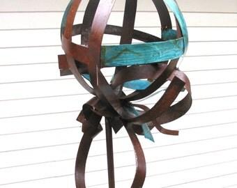 Sculptural Steel & Copper Bird Feeder No. 348 - Freestanding unique modern bird feeder garden globe