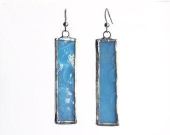 Earrings- Stained Glass Earrings- geometric earrings- Tiffany Blue earrings- Blue Glass earrings- dangle earrings