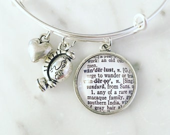 Wanderlust Vintage Dictionary Charm Bangle Bracelet - Personalized Definition Jewelry - Bangle - Travel - Arm Candy - Arm Party